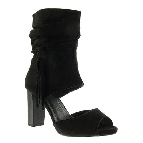 Angkorly - Damen Schuhe Stiefeletten Sandalen - Peep-Toe - Offen - Sexy - String Tanga - Fransen Blockabsatz high Heel 9 cm - Schwarz AF-710 T 37