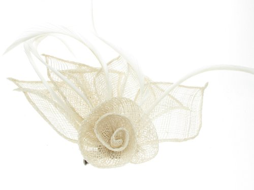 Coloured hessian netted rose fascinator on a beak clip and brooch pin in Cream