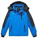 Wantdo Boy's Thick Ski Jacket Fleece Snowboarding Winter Coats Waterproof Raincoats Outwear Blue 14/16
