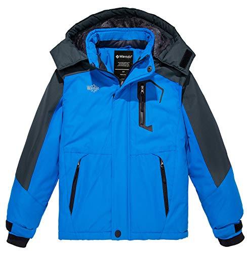 Wantdo Boy's Winter Coats Waterproof Ski Jacket Fleece Lined Outdoor Raincoat Blue 10/12