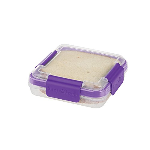 SnapLock by Progressive Sandwich To-Go Container - Purple, Easy-To-Open, Leak-Proof Silicone Seal, Snap-Off Lid, Stackable, BPA FREE