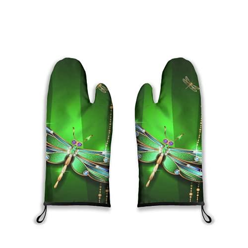 Manoplas para Horno 2 Piezas,Figuras vívidas de la Elegancia de la libélula en Diamantes de Piedras Preciosas con Efectos artísticos destacados,Guantes para Barbacoa con Almohadillas