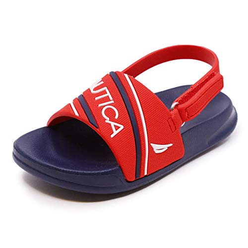 Nautica Kids Toddler Athletic Slide Pool Sandal |Boys - Girls| Toddler- Little Kid-Stunsail Toddler-Red/Navy/White-5