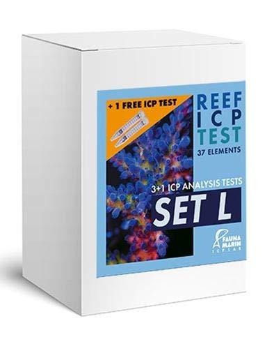 Fauna Marin SRL ICP testset L, 4 delar ICP-test, vattenanalys av stora makro- och spårämnen, paket med 4