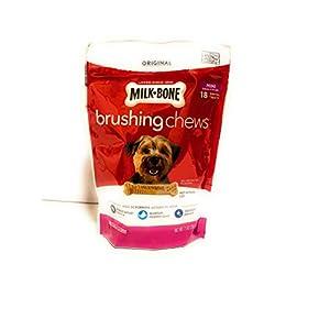 Milk-Bone Brushing Chews Daily Dental Dog Treats, Mini, 7.1 Ounces, 18 Bones Per Bag