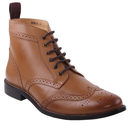 Unze Mens 'Taylor' Leather Boots Smart Formal Brogue Combat Lace Ankle Boots – M18155, Tan, 8 D(M) US