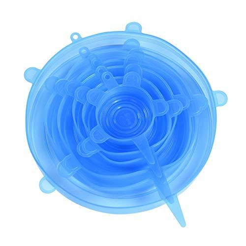 pZgfg 6/12 Pezzi Coperchi in Silicone Estensibile Coperchi per Alimenti Universali Riutilizzabili Coperchio Cucina Riutilizzabile Lavabile in Silicone per Alimenti Coperchio Magico, Blu2