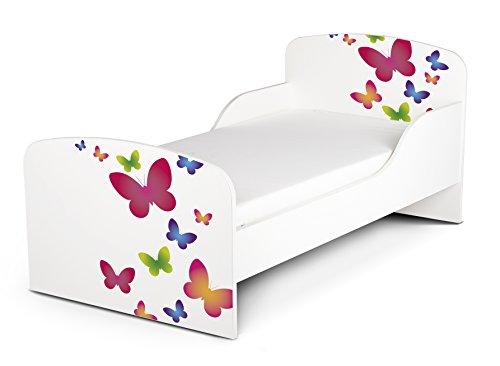 Leomark Letto per bambini in legno, lettino con materasso, magnifiche stampe, spazio per dormire 140x70 cm, mobili per bambini, rete a doghe, attrezzatura stanza per bambino, motivo: FARFALLE