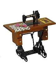 Sonline Maquina de coser miniatura de la vendimia con el pano para la escala 1/12 dollhouse decoration