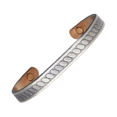 Magnohealth Magnetarmreif, versilbertes Kupfer, starke Neodym-Magnete, in 2 Größen erhältlich, ML (22 cm)