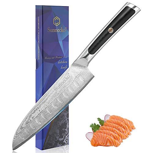 Sunnecko Santoku Messer Damast -18cm Küchenmesser Damastmesser Scharfes Kochmesser Japanischer VG-10 Cored & 73-Schichten Damaststahl Klinge & G10 Griff Messer Küche - Elite Series.