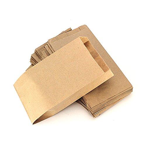 RUBY - 100 Kraft bolsa de papel marrón, bolsas de regalo/bolsas de fiesta/calendario de adviento/navidad/bodas/fiestas de cumpleaños/mercados/cafeterías (11cm x 20cm, 100 unids)