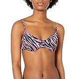 Bikini Lab Junior's Over The Shoulder Underwire Bra Bikini Swimsuit Top, Multi//Wild Child, L