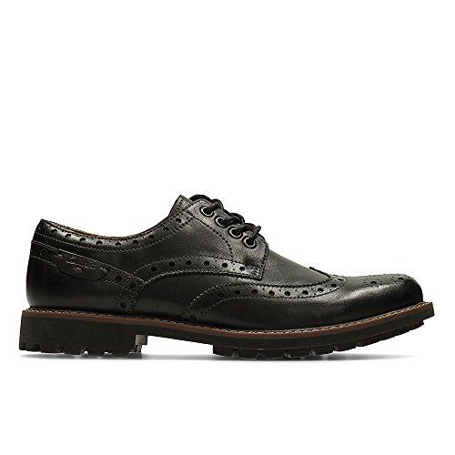 Clarks Herren Montacute Wing Brogue Schnürhalbschuhe, Schwarz (Black Leather), 44 EU