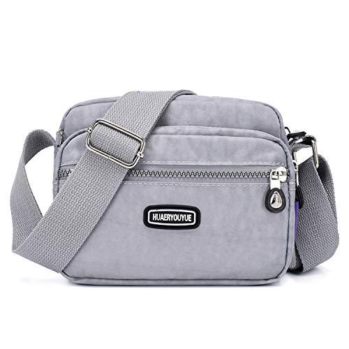Outreo Borse a Spalla Casuale Borsello Donna Borse da Moda Leggero Borsa Tracolla Impermeabile Sacchetto Sport Bag Borsetta Ragazze (Grigio)