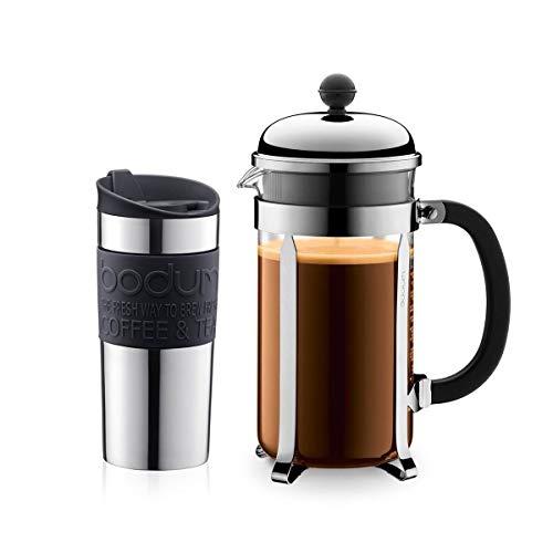 Bodum K11068-01 Set aus Chambord Kaffeebereiter 8 Tassen und Travel Mug Becher, 0,35 l, Edelstahl mit Silikonring, Schwarz