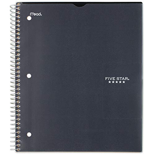 """Five Star Spiral Notebook, 1 Subject, College Ruled Paper, 100 Sheets, 11"""" x 8-1/2"""" Sheet Size, Customizable Cover, Black (73812)"""