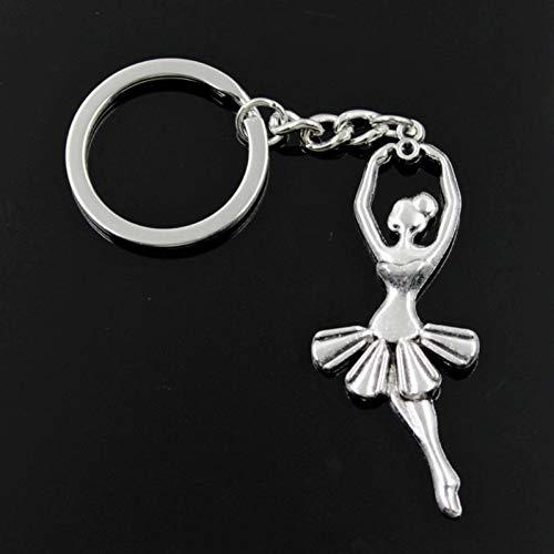 N/ A SGDONG Fashion Mannen 30Mm Sleutelhanger Diy Metalen Houder Ketting Ballet Dancer Ballerina 61X24Mm Zilver Kleur Hanger Gift