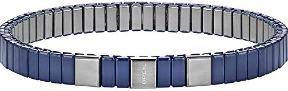 Breil braccialetto unisex in acciaio bilux e finitura in nanoceramica color blu TJ1667