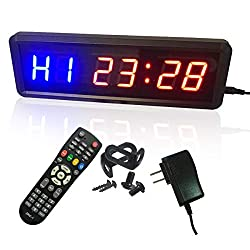 Ledgital Gym Timer Stopwatch with Remote, Countdown/up Clock in Mints Secs, Ideal Interval Timer Clock for Home Gym Workout, Ultra-Brightness & Dimmable, Wall Mount Brackets Included