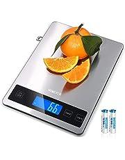 Homever Báscula de Cocina, 15 kg, Báscula Digital de Cocina con 6,3 x 0,79 pulgadas Gran Panel, Acero Inoxidable Báscula Digital de Cocina Pequeña 1 g Precisión & Pantalla LCD
