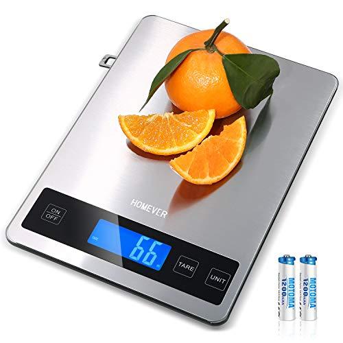 HOMEVER Küchenwaage, 15kg Küchenwaage Digital mit 6,3 * 0,79 Zoll Großem Panel, Edelstahl Digitale Küchenwaage klein 1 g Präzision & hinterleuchtetem LCD-Display.