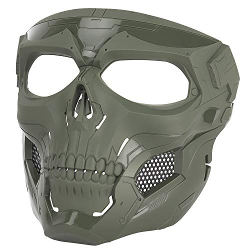 Sensong Paintball Maske mit Schutzbrille Masken Taktische Skull Schutzmaske fur Airsoft Softair Halloween CS Partyspiel Jagd Cosplay Grün