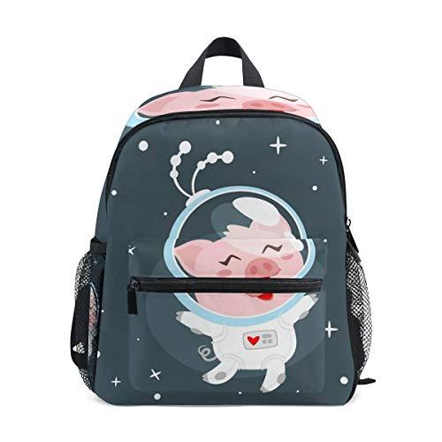 Astronaut Piggy Toddler Backpack Bookbag Mini Shoulder Bag for 1-6 Years Travel Boys Girls Kids with Chest Strap Clip Whistle