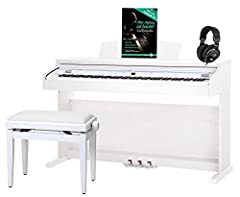 Klassieke Cantabile DP-50 WM E-Piano SET (digitale piano met hamermechanisme, 88 knoppen, 2 connectoren voor hoofdtelefoons, USB, LED, 3 pedalen, piano voor beginners, pianobank, koptelefoon, pianoschool) witte mat*