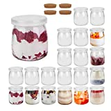 FRUITEAM 7 oz Clear Glass Pudding Jars with PE Lids - Set of 20, Glass Containers with Caps, Ideal for Yogurt, Milk, Jam, Jellies, Honey, Spices Mousse and More