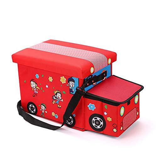 GAOXIAOMEI Taburete De Almacenamiento para Niños Taburete Creativo para Coche Taburete De Almacenamiento De Tela Oxford Caja De Almacenamiento De Juguete Plegable 55 * 25 * 30CM,Rojo