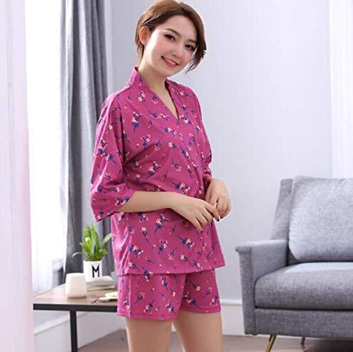 XFLOWR Sommer 100% Baumwolle Frauen Kurzarm Pyjama Set V-Ausschnitt Loose Leisure...