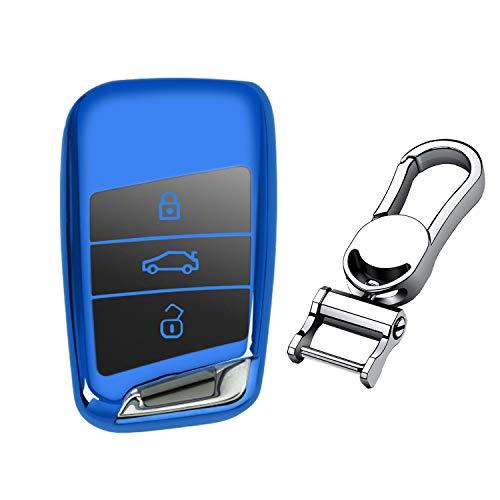 M.JVisun Soft TPU Case Cover Protector Car Key Fob Cover for Volkswagen Arteon Atlas Golf Alltrack Jetta Passat for Tiguan for Skoda Kodiaq Superb A7 Smart Remote Key - Glossy Blue - Metal Keychain