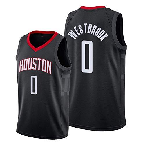 DDOYY New Russell Westbrook # 0 Rockets City Edition Camiseta bordada, uniforme de entrenamiento de baloncesto para hombre para competición al aire libre Fitness S-2XL-negro-XL