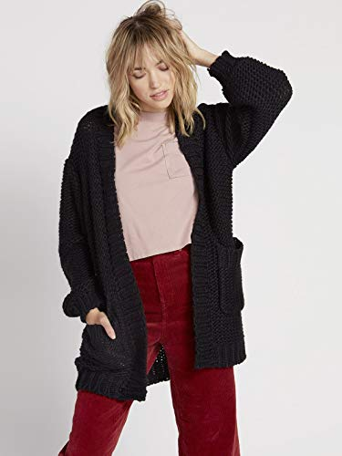 Volcom Damen Women's Knit List Oversized Chunky Cardigan Sweater Jacket, schwarz, Medium-Large