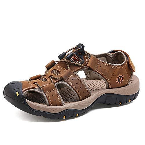 MLLM Zapatillas unisex suaves de casa, sandalias de senderismo de cuero soñoliento; zapatos de playa para hombre al aire libre marrón UK7.5, zapatillas de gimnasio suela suave con punta abierta