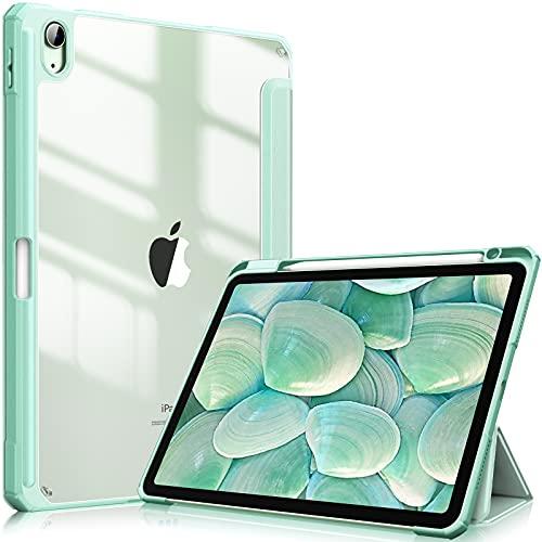 Fintie Funda Compatible con iPad Air 10,9' (4.ª Generación, 2020) - Carcasa con Soporte Integrado para Pencil Trasera Transparente a Prueba de Choques Auto-Reposo/Activación, Verde Claro