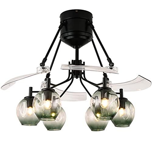 Nostalgie Ventilador de Techo con Luz de 48 Pulgadas Lámparas de 5 Luces Vidrio Vidrio Luz de 3 Velocidades Retráctil de 3 Velocidades Ventilador de Techo Interior