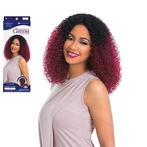 Sensationnel Perruque élégante en cheveux synthétiques Empress Lace Front Wig KINKY CURL Custom Wig Couleur : T1B/BG (ombre noir/bordeaux)