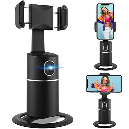360° Face Tracking Phone Holder, No APP, Fast Face Following, Desktop Tripod for Selfie Vlog Live Video YouTube TIK Tok, Universal Stand for iPhone & Android, Last 6-8 Hours for Indoor Outdoor Use