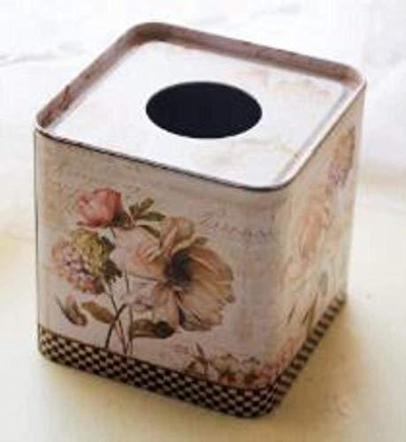 Almacenamiento de tejidos 1 PCS Estilo pastoral Caja de tejido cuadrado Caja de hojalata Caja de inodoro Detalle de papel Decoración de la mesa Accesorios de decoración de la mesa, igual que la foto Z