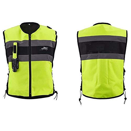 Chnzyr Motorrad Einen.Kreislauf.Durchmachenweste Airbag Reflective Weste Abriebfeste Tear Airbag-Sicherheits Motorräder Off-Road-Fahrzeuge Airbagweste,Grün,L