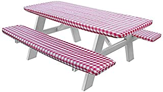 LAMINET Deluxe Picnic Table Cover - (Set of 3) - Red