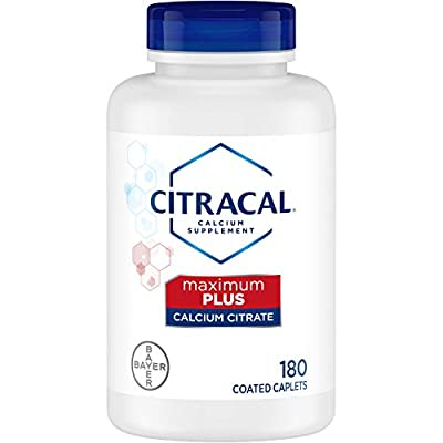 Citracal Maximum, Highly Soluble, Easily Digested, 650 mg Calcium Citrate with 500 IU Vitamin D3, Bone Health Supplement for Adults, Caplets, 180 Count