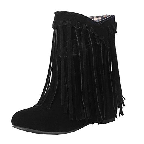 Agodor Damen Flache Ankle Boots Winter Kurz Stiefeletten mit Fransen Nubuk Leder Warme...