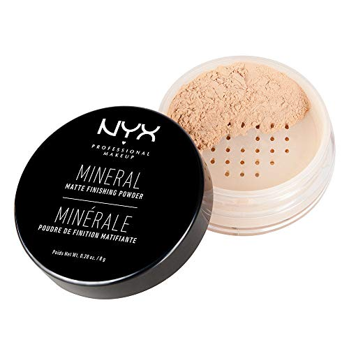 NYX Professional Makeup Mineral Finishing Powder, Loses Puder, Mattes Finish, Ölabsorbierend, Vegane Formel, Farbton: Light/Medium