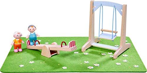 HABA 303939 - Little Friends – Spielset Spielplatz | Mit Wiese, Wippe, Schaukel und 2 Babys | Tolle Ergänzung für die Little Friends-Spielwelt