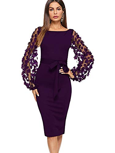 DIDK Damen Netz Figurbetontes Kleid Schlauch Kleider mit Blumen Violett U-Boot Ausschnitt #2 XS