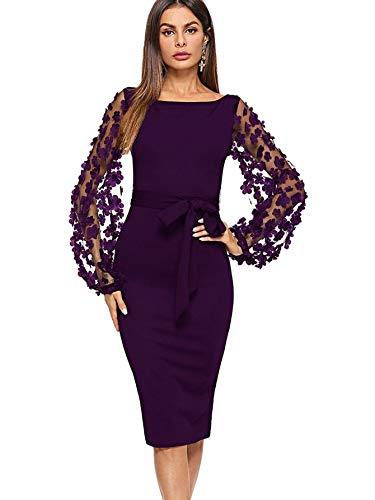 DIDK Damen Netz Figurbetontes Kleid Schlauch Kleider mit Blumen Violett U-Boot Ausschnitt #2 S