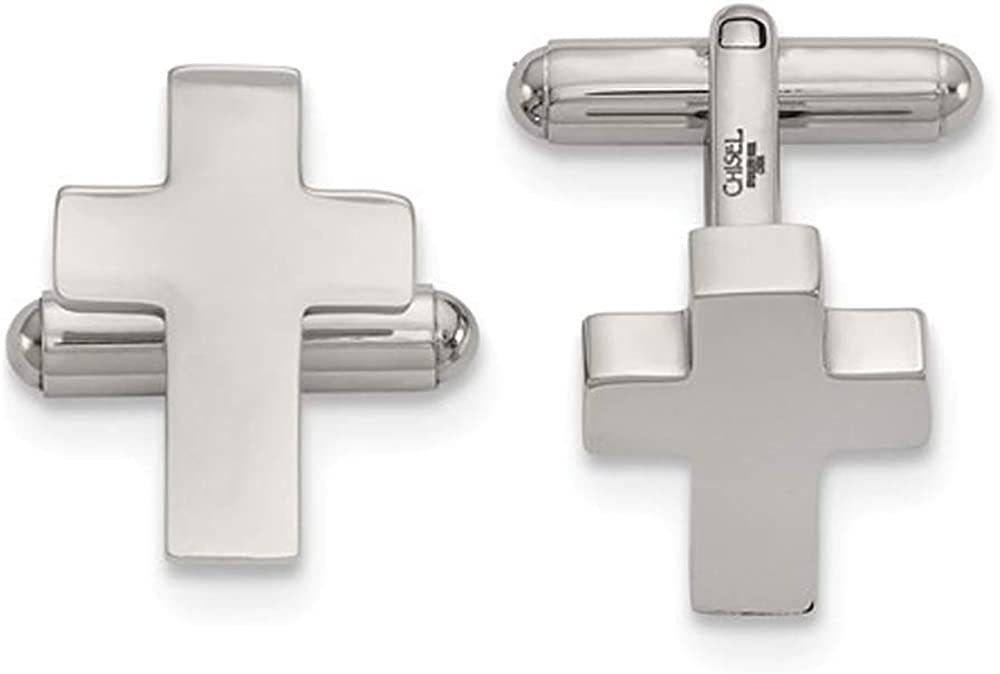 Gem And Harmony Stainless Steel Polished Cross Cuff Links